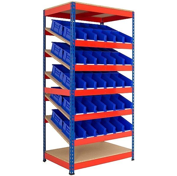 Kanban Inclined Rivet Shelving System and Bin Kits