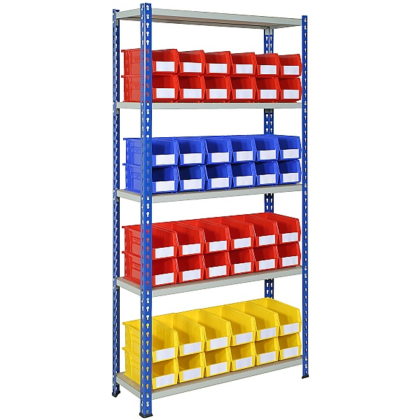 Rivet Shelving and Bin Kit with 48 Bins