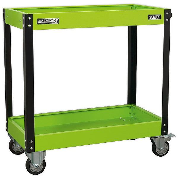 Sealey Heavy Duty Workshop Trolley - 2 levels - Hi-Vis Green