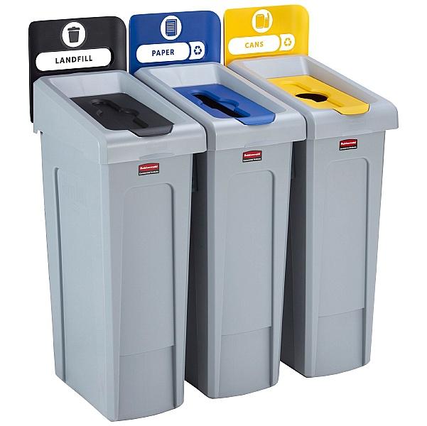 Slim Jim Recycling Station 3 Stream Bin Kit 1
