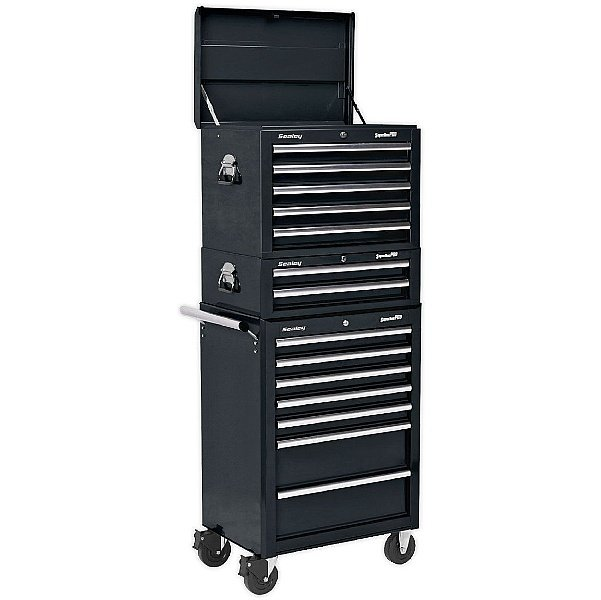Sealey Topchest, Mid-Box And Rollcab Combination 14 Drawer