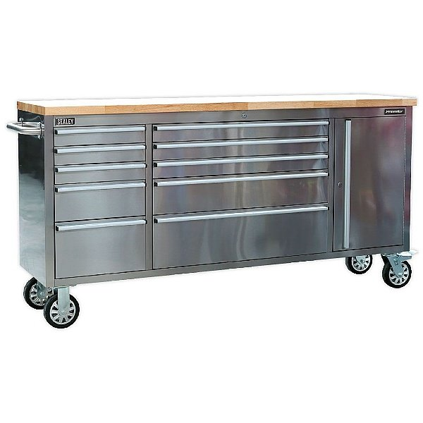Sealey Mobile Stainless Steel 10 Drawer and Cupboard Tool Cabinet