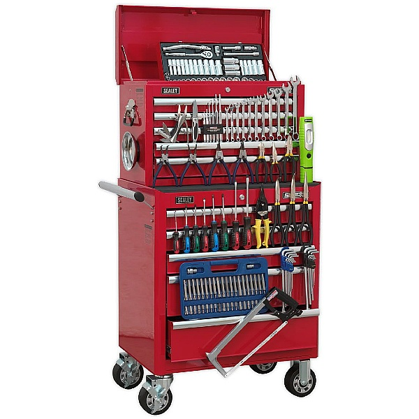 Sealey Red 10 Drawer Topchest & Rollcab Combination with 147pc Tool Kit