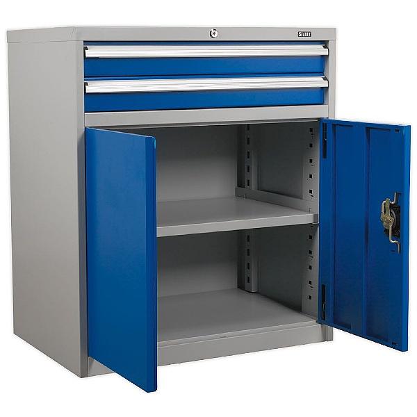 Sealey Industrial Cabinet 2 Drawer & 1 Shelf Double Locker -  880W x 580D x 1000H