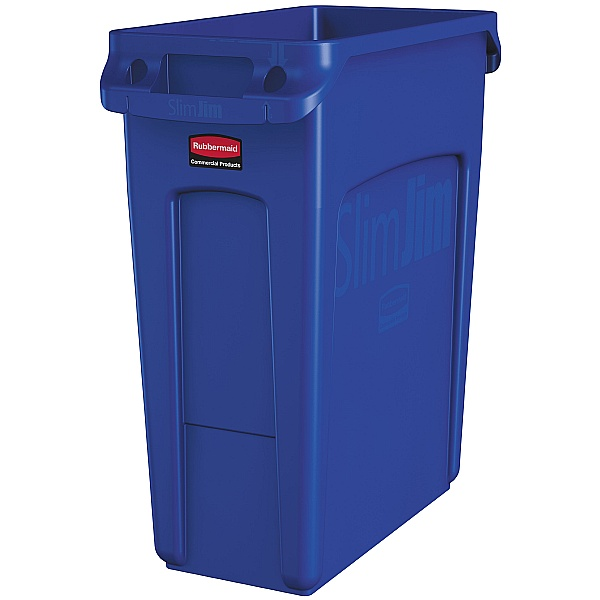 Blue Recycling Slim Jim Vented Bin with Lid