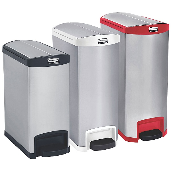Slim Jim End Step-On Metal Waste Containers