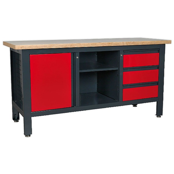 Sealey Workstation with 3 Drawers, 1 Cupboard & Open Storage