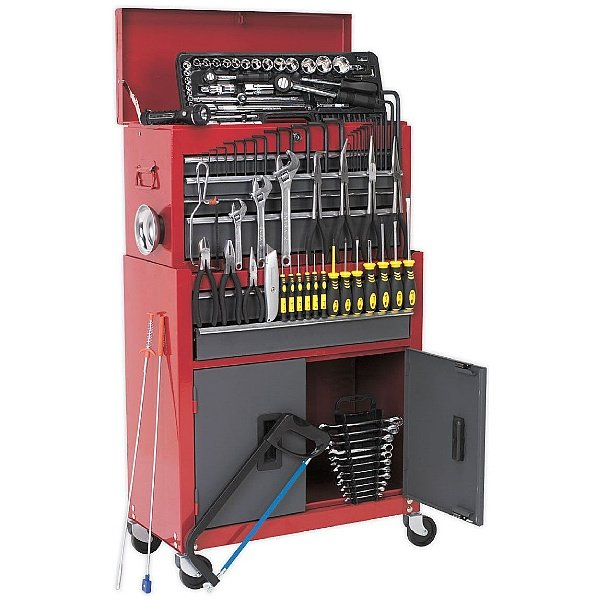 Sealey 6 Drawer Topchest & Rollcab Combination With Ball Bearing Slides & 128pc Tool Kit