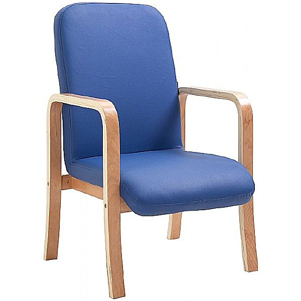 Oxford Wooden Frame Vinyl Reception Chair With Arms