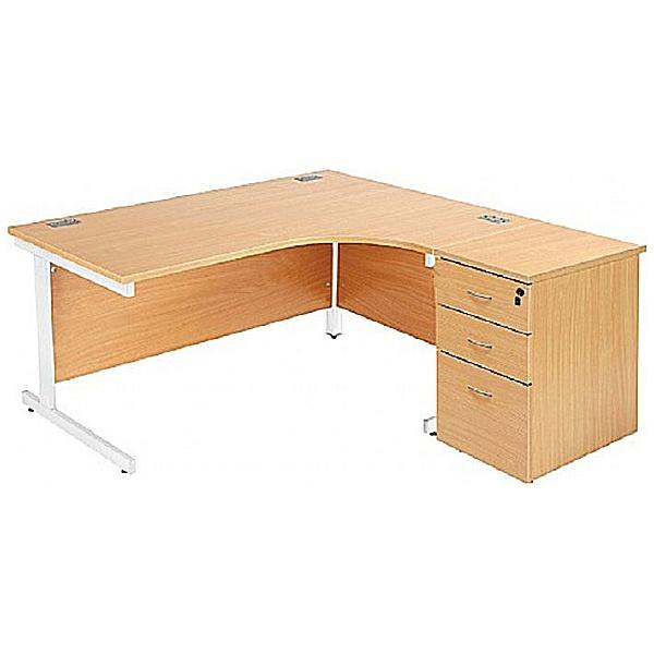 Commerce II Ergonomic Desks With Desk High Pedestal