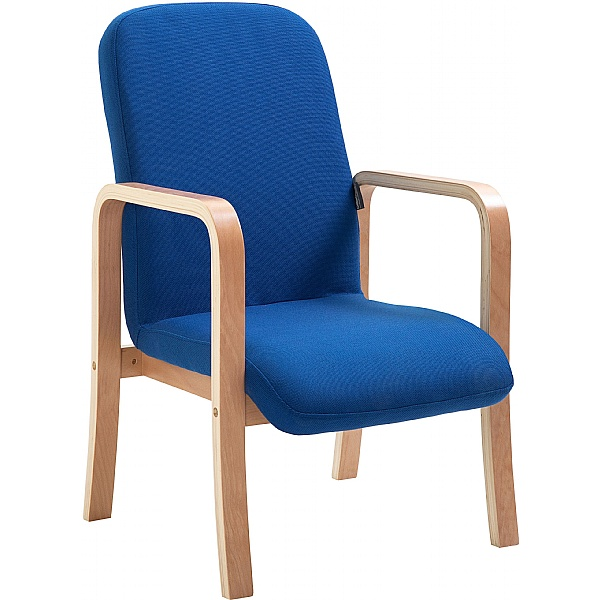 Oxford Wooden Frame Fabric Reception Chair With Arms