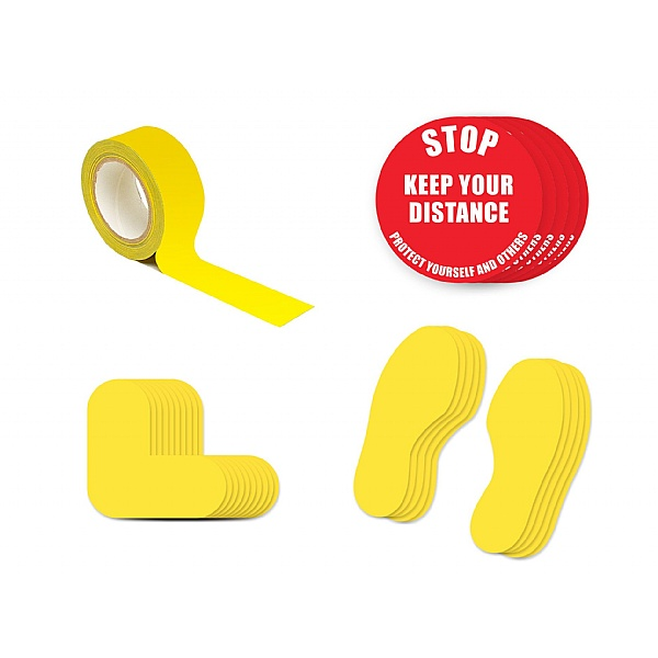 Safe Distance Floor Markers for Social Distancing Kit C - Text: STOP Keep Your Distance
