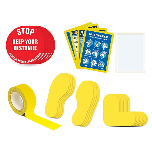 Safe Distance Floor Markers for Social Distancing Kit E - Text: STOP Keep Your Distance