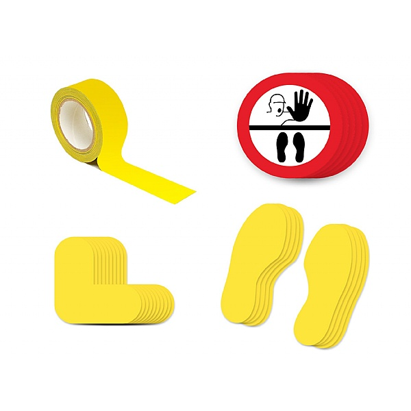 Safe Distance Floor Markers for Social Distancing Kit D - Illustration: STOP Keep Your Distance