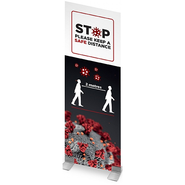 Social Distancing Correx Display Stand With Feet Base - STOP Please Keep a Safe Distance