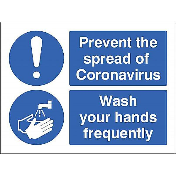 Prevent the spread - Wash your hands frequently - Self Adhesive Sign