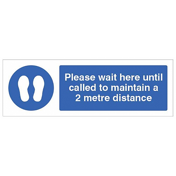 Please wait here until called to maintain a 2 metre distance - Floor Graphic