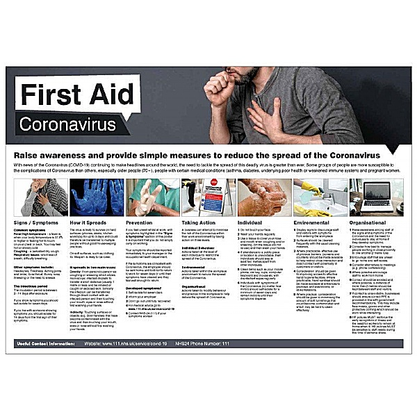 First Aid Coronavirus Information Poster - Size: A2