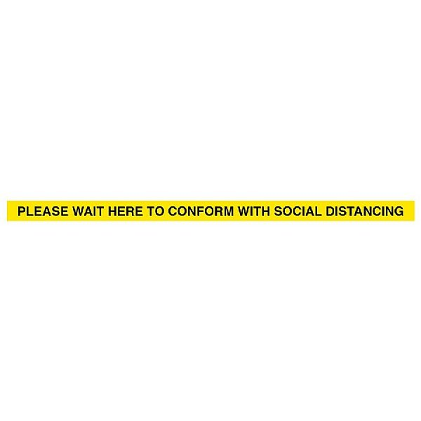 Please Wait Here To Conform With Social Distancing - Floor Graphic Strip