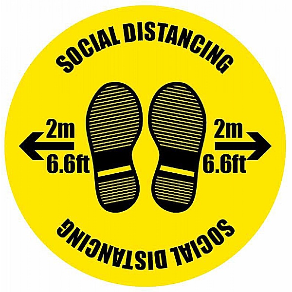 Social Distancing - 2m/6.6ft with Footprints - Floor Graphic