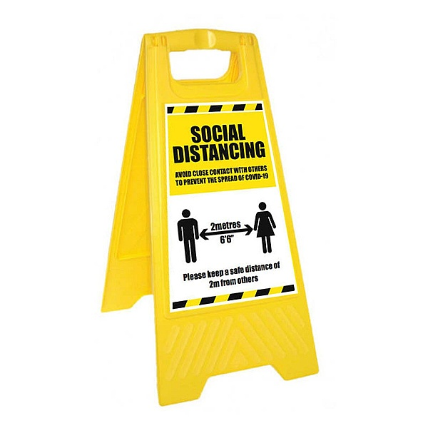 Warning Social Distancing - Please Wait Here - Yellow Free-Standing Floor Sign