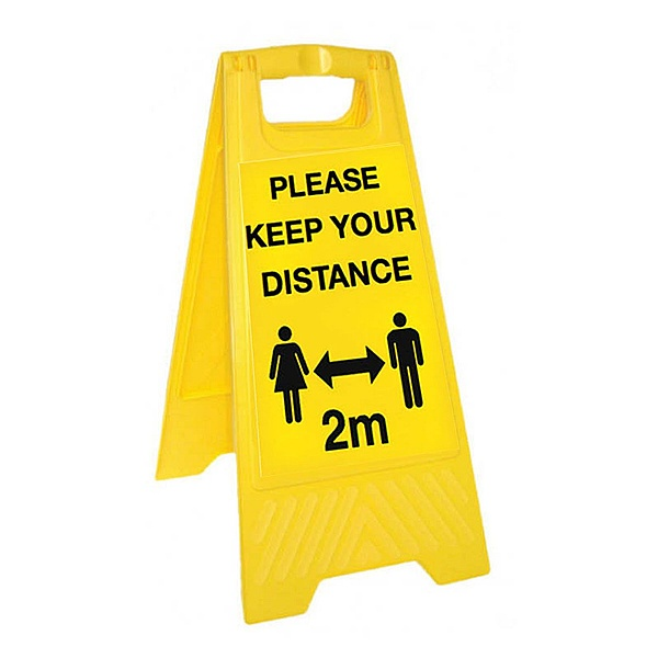 Please Keep Your Distance - Yellow Free-Standing Floor Sign