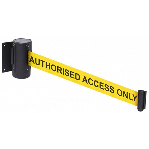 Wall Mounted Retractable Barrier With Text