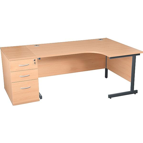 Karbon K1 Ergonomic Cantilever Office Desks With 800D Desk End Pedestal