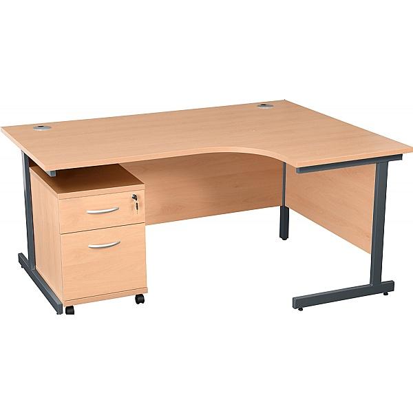 Karbon K1 Ergonomic Cantilever Office Desks With Low Mobile Pedestal