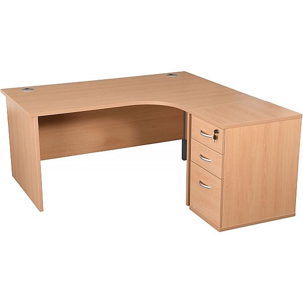 Karbon K2 Ergonomic Panel End Office Desks With 600D Desk End Pedestal