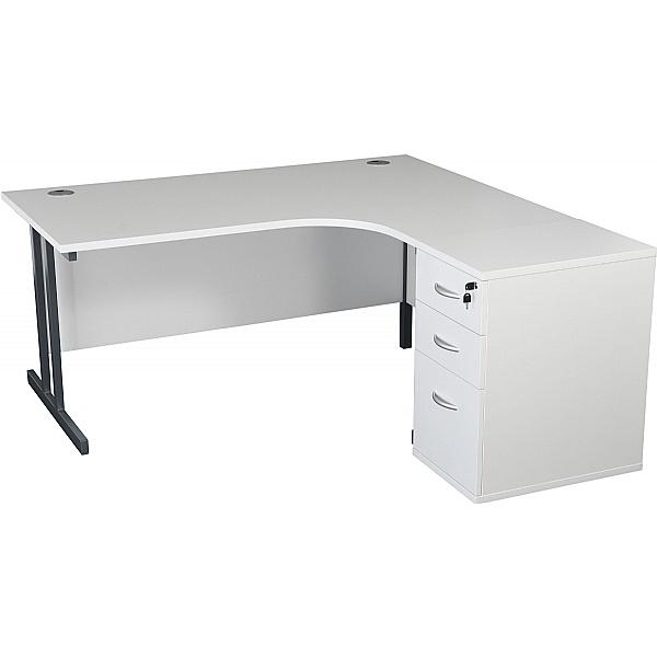 Karbon K3 Ergonomic Deluxe Cantilever Desk With 600D Desk End Pedestal