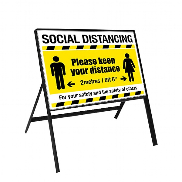 2 Metre Social Distancing Cone Sign 600x450mm