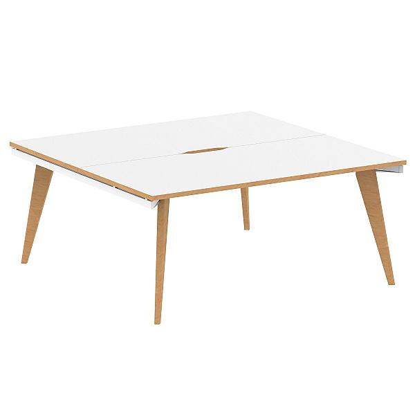 Bianco 2 Person Back to Back Rectangular Bench Desk