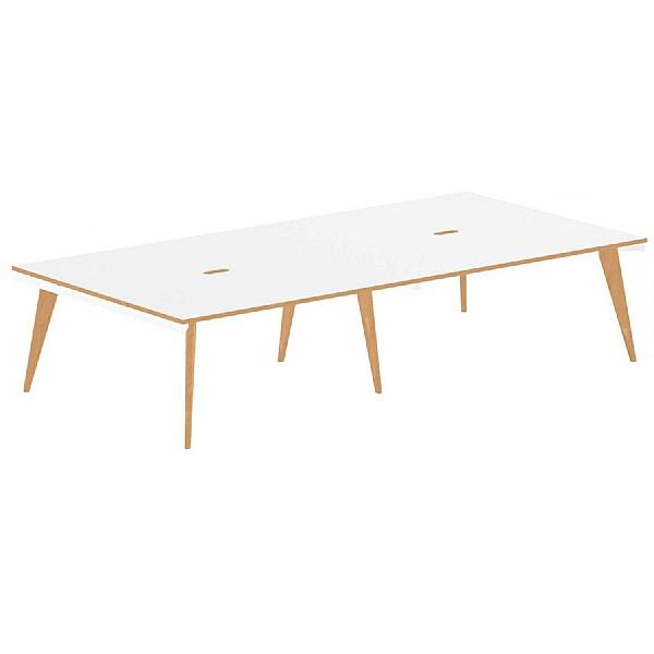 Bianco 4 Person Back to Back Rectangular Bench Desk