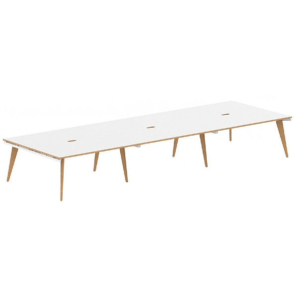 Bianco 6 Person Back to Back Rectangular Bench Desk
