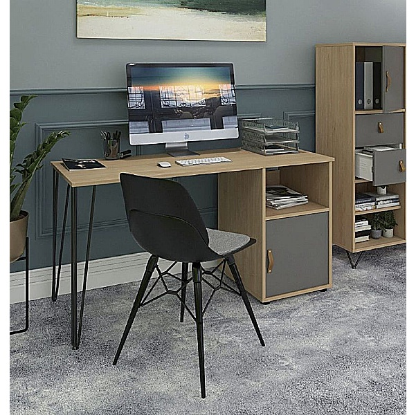 Flores Home Office Desk with Fixed Cupboard Pedestal