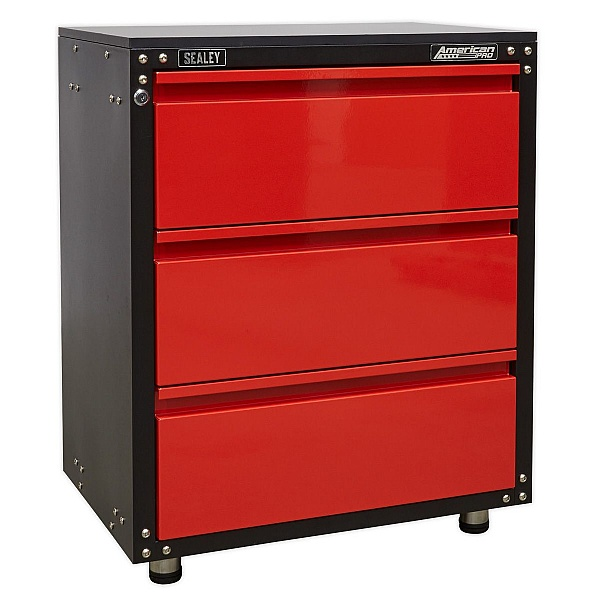 Sealey American Pro Modular 3 Drawer Cabinet with Worktop