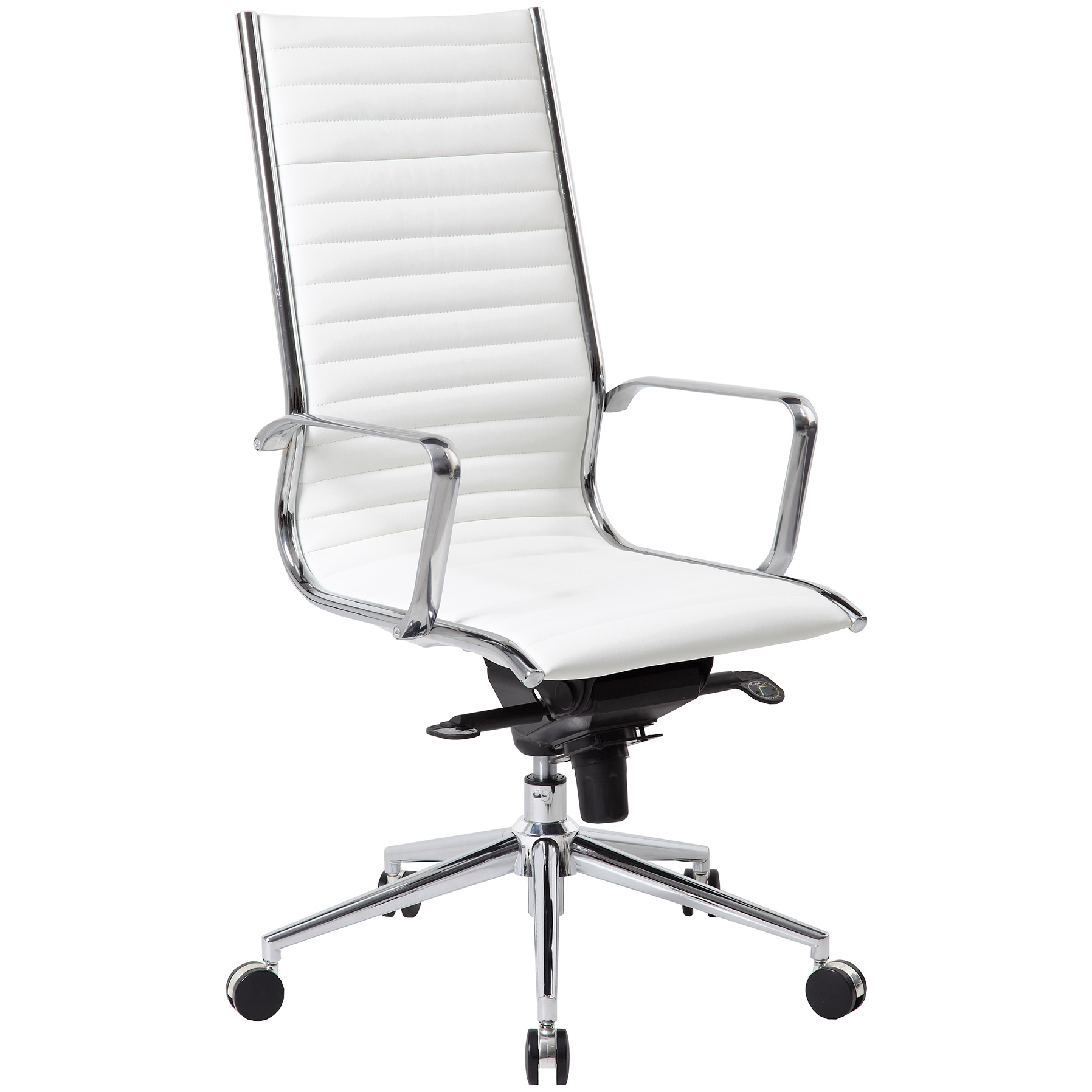 Abbey High Back Designer Leather Office, White Leather Computer Chairs