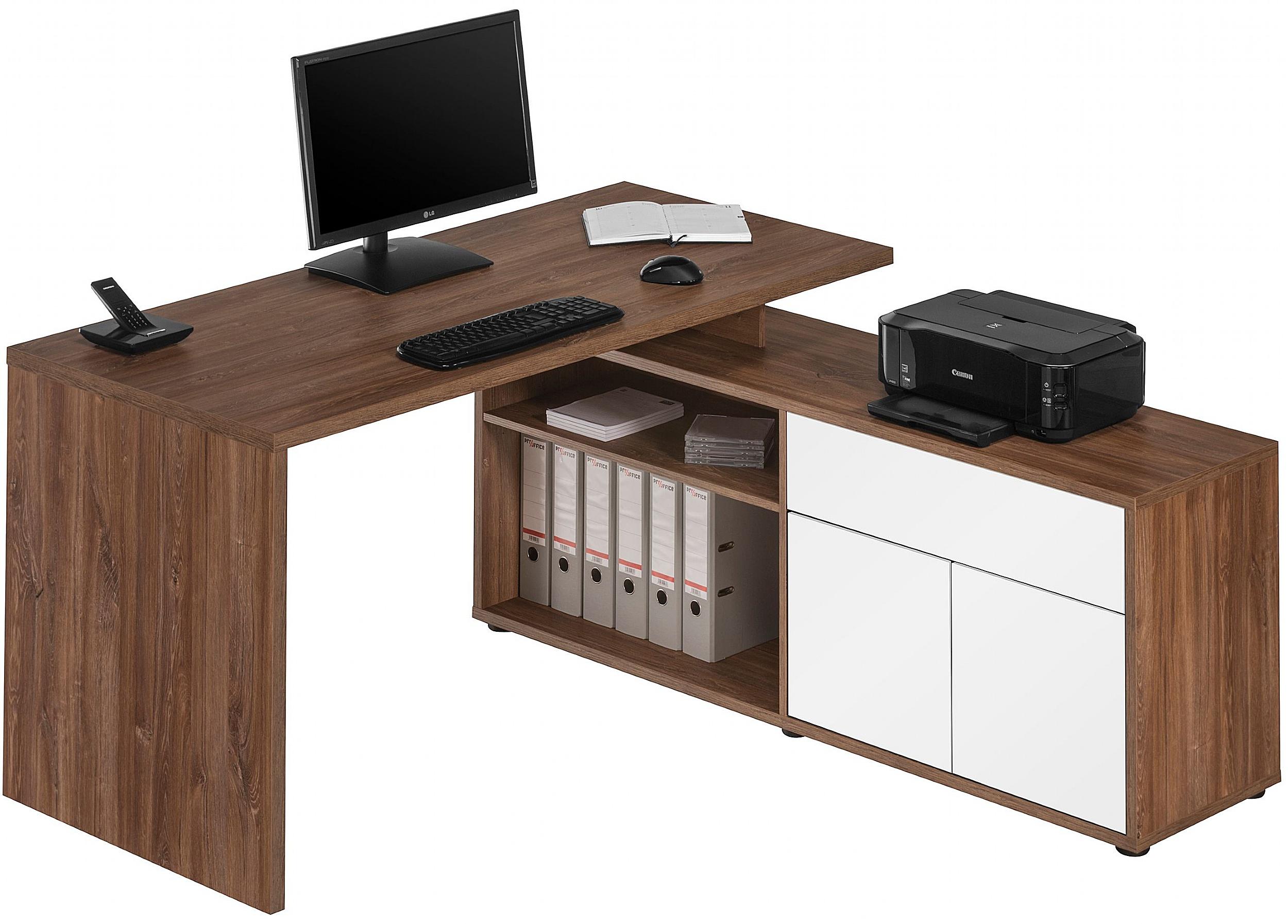Image of: Naples Corner Computer Desk Dark Oak White Gloss Home Computer Desks