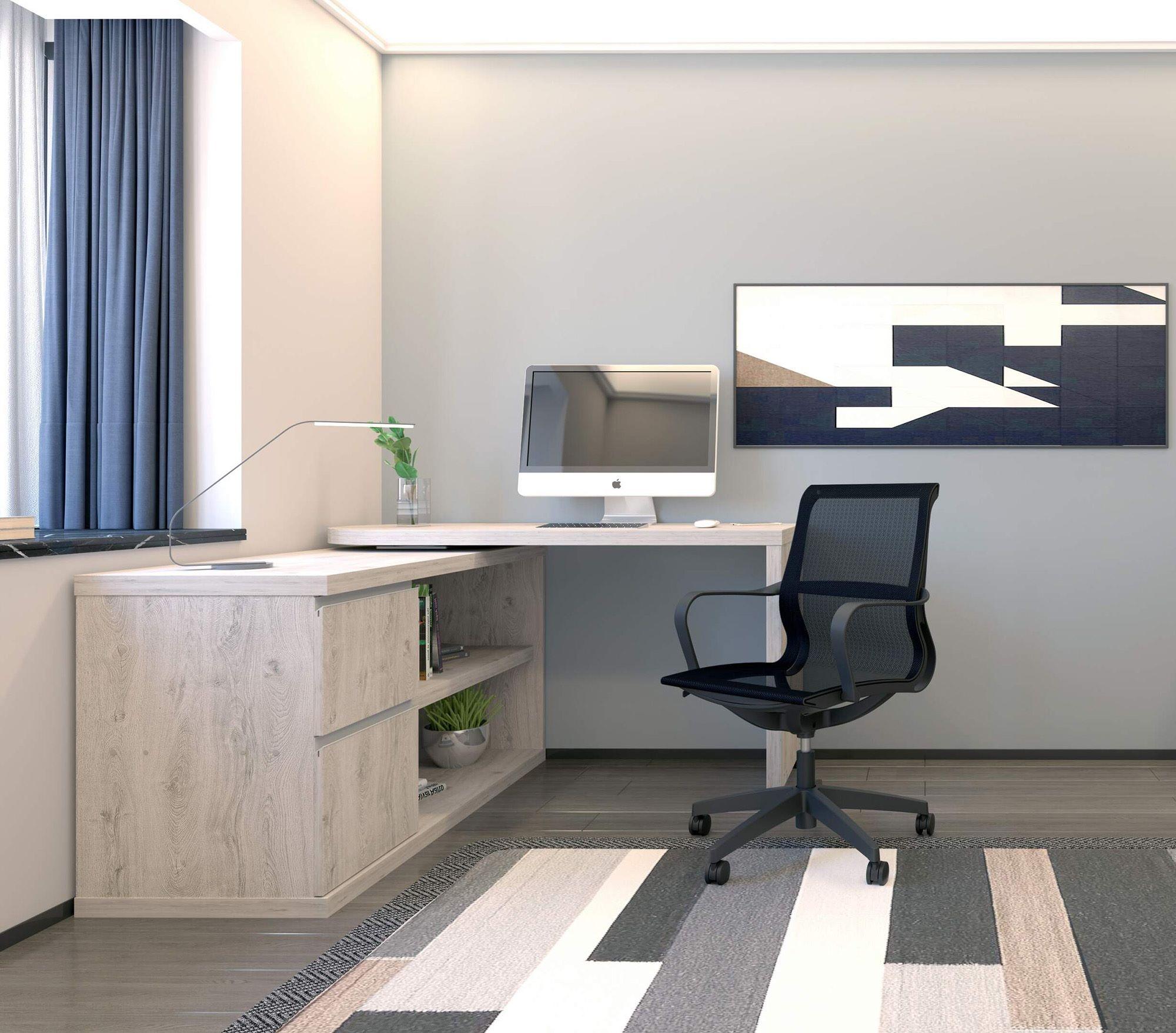 Mezcal Home Office Desk Set Grey Oak, Home Office Desk And Chair Set Uk